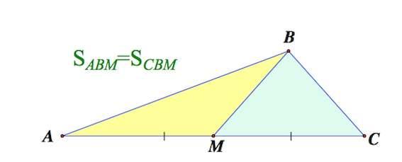 медиана треугольника, свойства медианы треугольника